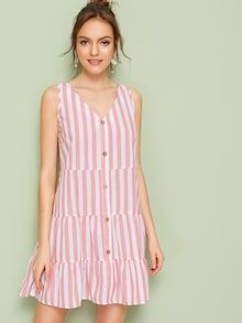 To find out about the Button Front Ruffle Hem Striped Dress at SHEIN, part of our latest Dresses ready to shop online today! Western Wedding Dresses, Luxury Wedding Dress, Bridal Dresses, Dress P, Dress Outfits, Casual Dresses, Natural Clothing, Button Front Dress, Wedding Fabric