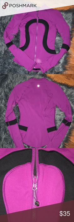lulu lemon zip up barely worn and in EXCELLENT condition. purple color and very slimming jacket. has thumb holes which is always a plus:) lululemon athletica Jackets & Coats