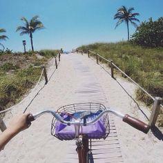 lets take a ride, hat, bikini, sandals, sunscreen !