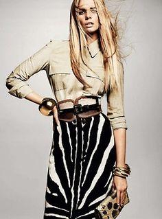 Zebra skirt with camp shirt; striking