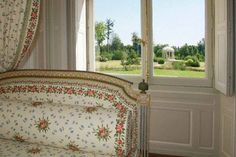 View from Marie Antoinette's bedroom in the Petit Trianon. The Temple of Love is visible in the background.