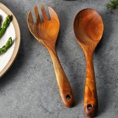 Beautiful Acacia Wood Kitchen Spoon Rest with Spoon Set of 2 Easy to Clean and Multiple Use Set - Amazing Gift For Friends And Family