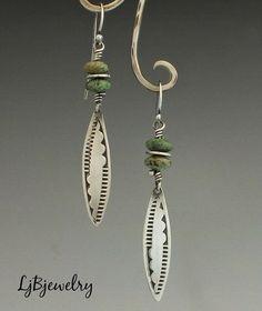 Turquoise Earrings Silver Earrings Dangle Earrings by LjBjewelry