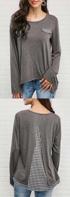 Asymmetric Hem Patchwork Long Sleeve T Shirt