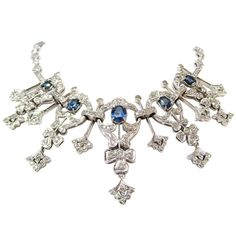 Splendid Diamond and Sapphire Cocktail Necklace