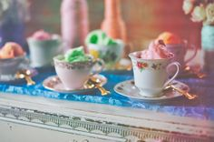Rainbow + Bowtie Wedding Ideas - Blog - RENT MY DUST Vintage Rentals ~ teacups and saucers