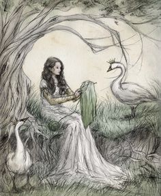 ejbeachy:  Crush the nettles with your feet and you will have flax. That flax you must spin and knit into eleven tunics with long sleeves; throw them over the eleven wild swans and the spell will be broken.  The Wild Swans, by Hans Christian Andersen