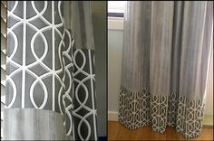 Adding fabric to store-bought curtains for a custom look! @Rebekah Birkheimer