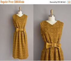20% OFF SALE... 50s brown and mustard wool by simplicityisbliss
