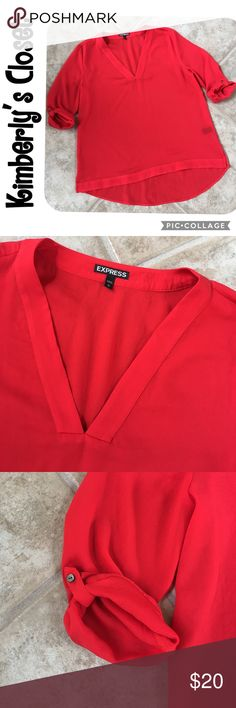 """🛍EXPRESS red top🛍 EXPRESS red blouse top.  V-neck.  3/4 length sleeves.  Vented bottom sides.  Slightly longer in back.  Measures 26.5"""" from top of shoulder to front bottom (back is about 3.75"""" longer); 22"""" across the chest.  100% polyester - machine washable.  Like new - excellent condition. Express Tops Blouses"""