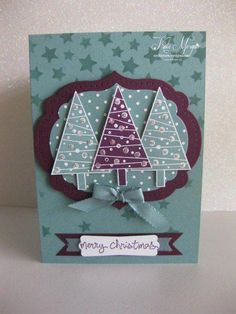Stampin' Up! Festival of Trees. Love the rich colors! Stamped Christmas Cards, Christmas Card Crafts, Homemade Christmas Cards, Christmas Cards To Make, Xmas Cards, Handmade Christmas, Homemade Cards, Holiday Cards, Teal Christmas