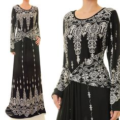 Black Red Ethnic Print Jersey Long Sleeve Abaya Maxi Dress - Plus Size XL/1X…