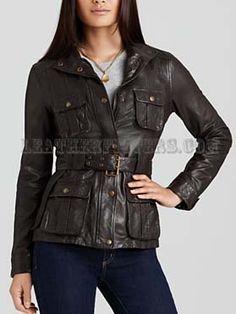 Flaunt Women Leather Military Jacket