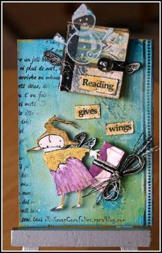 Two ATCs with wings, for a Guest Designer Stampotique Challenge. Here's the first ATC on reading...