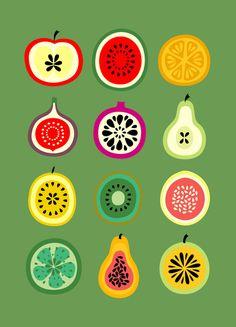 Mid-century inspired fruit print.