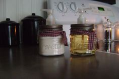 something to do with those empty candle jars ......hand soap and hand cream
