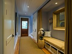 No space for a mudroom? Convert a closet into the perfect space to sit and take…