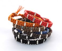 Hand braided Parachute Cord with Sterling Silver inserts.