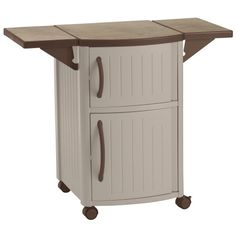 Suncast Outdoor Grilling Prep Station - Portable Outdoor BBQ Entertainment Storage Table Prep Station - Store Grilling Accessories, Condiments - Taupe and Brown Garden Storage Bench, Bench With Storage, Table Storage, Storage Cabinets, Outdoor Storage, Locker Storage, Storage Benches, Storage Ideas, Backyard Storage