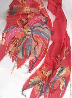 Купить Шифоновый шарф - коралловый, цветочный, шифоновый шарф, шарф ручной работы, красный шарф