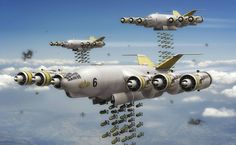 Bombs Gone by Small-Brown-Dog on DeviantArt Spaceship Concept, Concept Ships, Concept Art, Military Weapons, Military Art, Ww2 Aircraft, Military Aircraft, Zeppelin, Arte Steampunk