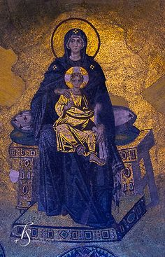 century Mosaic of the Apse of Hagia Sophia, Istanbul, shows the Virgin Mary on a backless throne holding the infant Jesus. Sainte Sophie Istanbul, Hagia Sophia Istanbul, Byzantine Art, Byzantine Icons, Byzantine Mosaics, St Sophie, Saint Lazarus, Byzantine Architecture, Religion
