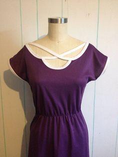 Vintage 1970's Purple Dress size 8-9