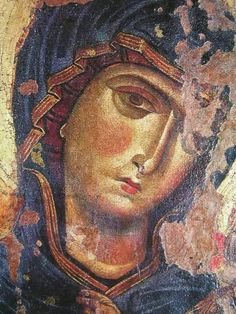 Theotokos in a blue garment Byzantine Icons, Byzantine Art, Religious Icons, Religious Art, Fresco, Papal Bull, Religious Paintings, Holy Mary, Blessed Virgin Mary
