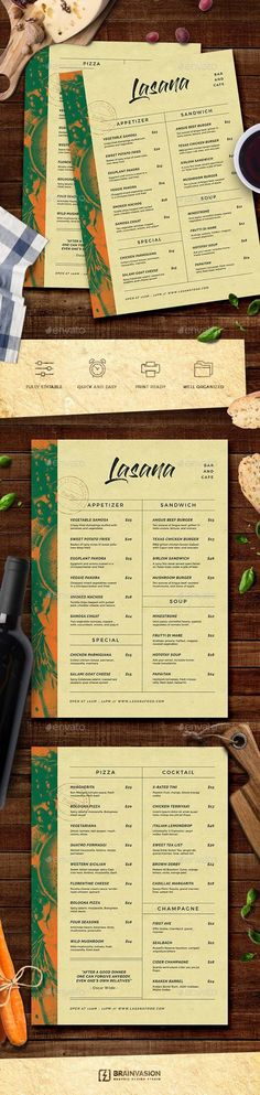 Buy Food Menu Template by Brainvasion on GraphicRiver. Features 2 PSD files Print Ready Size / cm + Bleeds 300 dpi / CMYK Simple to Customize Well Organized Laye. Food Menu Template, Restaurant Menu Template, Restaurant Menu Design, Menu Templates, Xmas Pudding, Japanese Menu, Appetizer Sandwiches, Menu Printing, Dont Drink And Drive