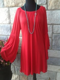Red bell sleeve dress/tunic S-XL $36 Tee for the soul