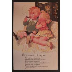 St Valentin,Couple d'enfants amoureux MAUZAN - Années 1930 French Vintage postcard - Love