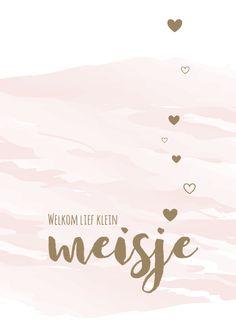 Felicitatiekaarten - Felicitatie watercolour met hartjes #meisje #dochter #girl #waterverf #boefjespost Scrapbook Quotes, 3rd Baby, Little Babies, Jessie, Cute Kids, Birthday Cards, Congratulations, Parents, Letters