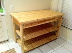 DIY Kitchen Island. Super simple. Could close it in on 3 sides with pallet boards