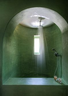 Lovat green shower alcove