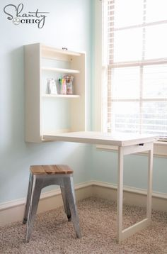 DIY Murphy Desk Tutorial (free furniture plan) from Shanty 2 Chic (posted on Ryobi Nation website) - LOVE THIS!!  It folds up and closes and has a chalkboard on it when it's closed - useful & pretty!
