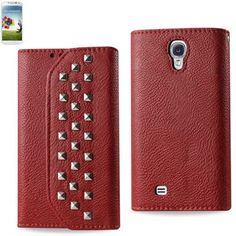 Reiko Studded Flip Case For Samsung Galaxy S4 Dark Red