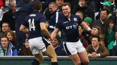 Scotland full-back Stuart Hogg weaves his way through the Ireland defence to run home an impressive try in the Six Nations.