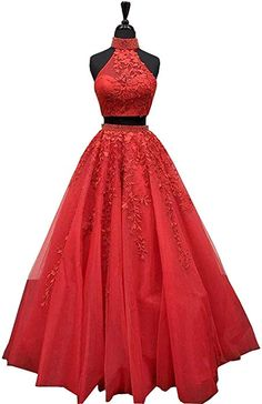 5caa8675c0 LeoGirl Womens Two Piece Lace Appliques Beaded Tulle Prom Dresses High Neck  A-Line Evening Gown (2