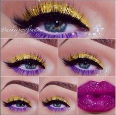 Makeup gold purple make up 64 Ideas Yellow Makeup, Yellow Eyeshadow, Purple Lipstick, Colorful Makeup, Crazy Makeup, Love Makeup, Makeup Art, Beauty Makeup, Makeup Ideas