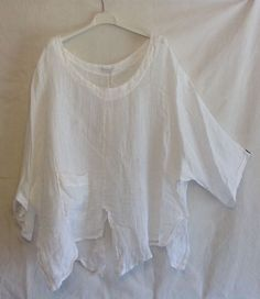 4d91144c3c4 NEW ITALIAN LAGENLOOK BOHO LAYERING SLASH QUIRKY LINEN POCKET TOP ONE SIZE  56