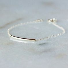 Sterling Silver Bar Bracelet, Minimal Bracelet, Layering Piece, Delicate Anklet, Curved Tube on Chain, Minimalist Jewelry