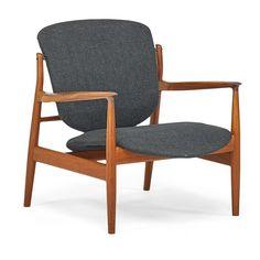 Finn Juhl, Lounge Chair; France & Sons, Teak, brass, upholstery, Denmark, 1950s