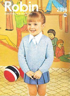 "Vintage Robin Knitting Pattern Little Girls DK Textured Jumper 18-26"" Chest   eBay"