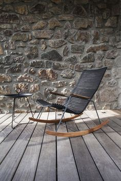 Rocking chair Click / Plastique & bambou Noir - Houe