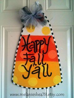Wooden Door Hanger-Candy Corn Door Hanger. $35.00, via Etsy.
