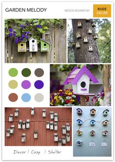 Birdhouses are mini architectural marvels. There are cases of extreme birdhouses which have been elaborately crafted at great expense. Mood Colors, Birdhouses, Colorful Decor, Palette, Cases, Culture, Rustic, Architecture, Mini