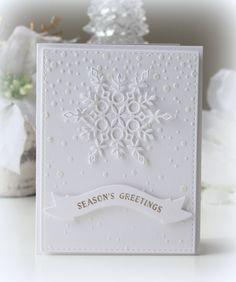 handmade winter snowflake card ... simply elegant ... stencil paste falling snow with gorgeous die cut snowflake ... white on white on white ...