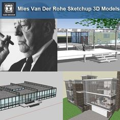 Home Design Drawings 17 Projects of Mies Van Der Rohe Architecture Sketchup Models - CAD Design Autocad, Renzo Piano, Stairs Architecture, Architecture Details, Innovative Architecture, Chinese Architecture, Classical Architecture, Landscape Architecture, Landscape Model