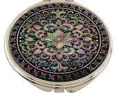 Mother of Pearl Makeup Mirror arabesque Design Cosmetic mirror Handbag Purse handheld Compact hand pocket Mirror