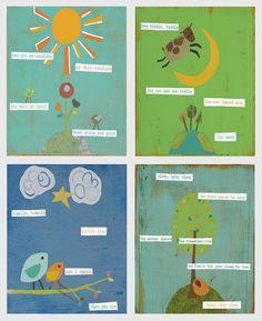 8x10 Nursery Rhyme Collection Eco Print